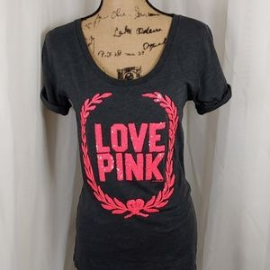 Pink VS Love Pink Sequined Tee M